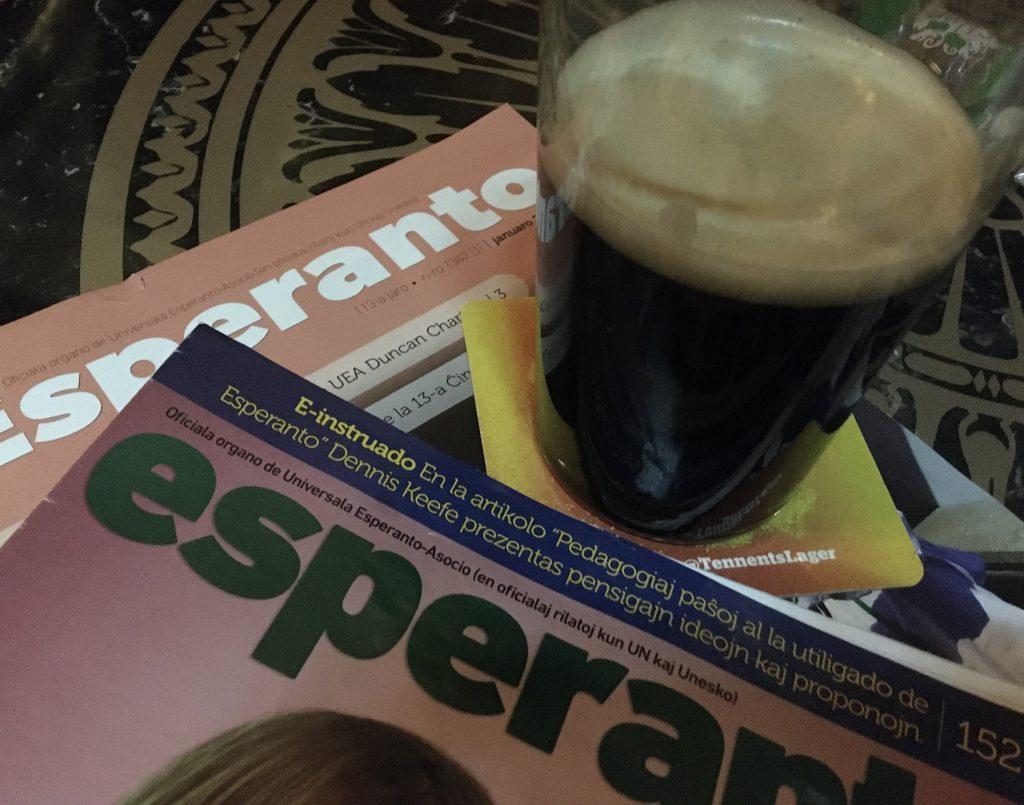 Esperanto magazine and beer